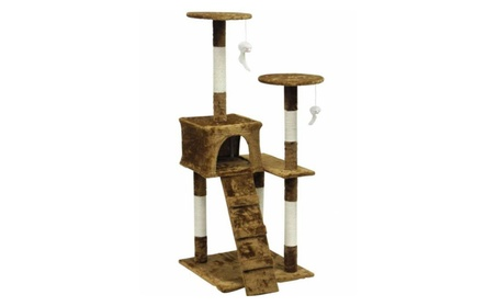 Homessity HC-010 Light Weight Economical Cat Tree Furniture, Brown 3f894eea-e909-4765-a6a5-0dec966858b4