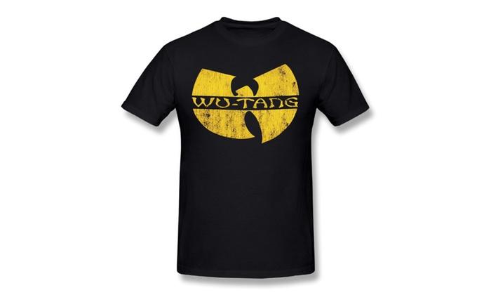 Men's Wu-Tang Clan Classic Yellow Distressed Logo T Shirt Black