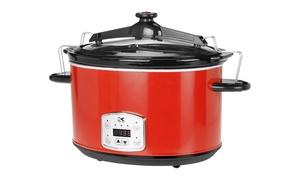 Kalorik Red 8-Qt. Digital Slow Cooker with Locking Lid