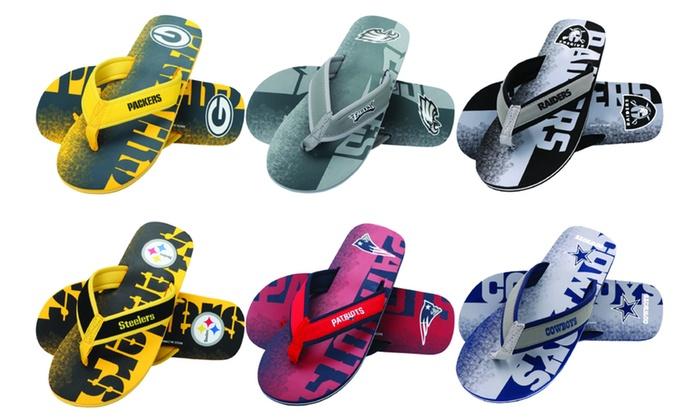 9e6032743a28be Officially Licensed NFL Contour-Fade Wordmark Men s Flip Flops. NFL Men s  Flip Flops