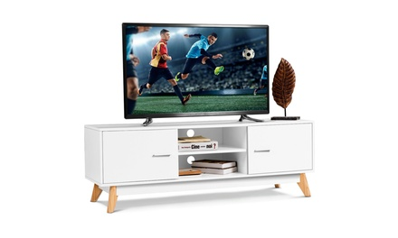 TV Stand Entertainment Center Console Cabinet Stand 2 Doors Shelves