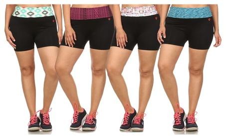 Junior's Activewear Foldover Waist Exercise Shorts 275093ec-c6a9-4b3b-b18f-69129161da18