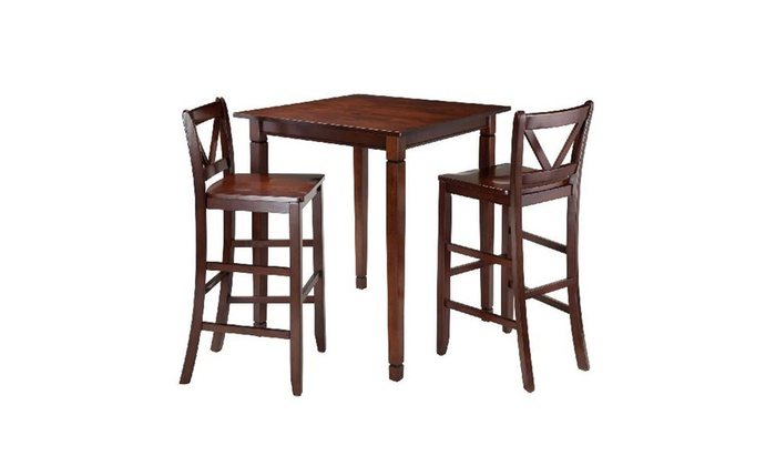 Winsome Kingsgate 3 Piece Dining Table With 2 Bar V Back Chairs