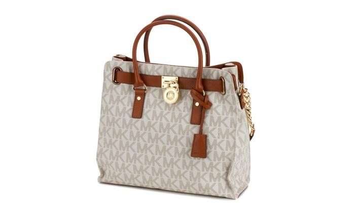 Michael Kors Hamilton Logo Large Tote Handbag Vanilla