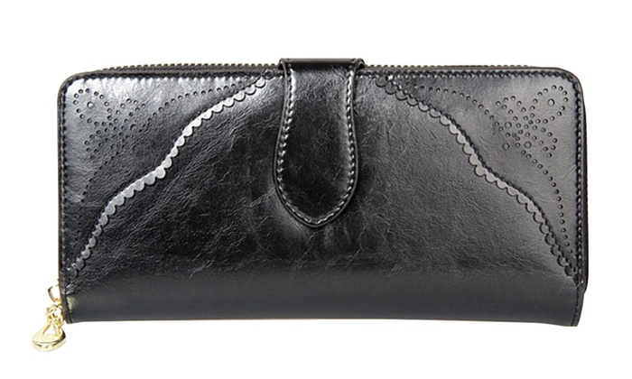 Women Wallet Black Leather Long Zipper Wristlet Clutch Purse