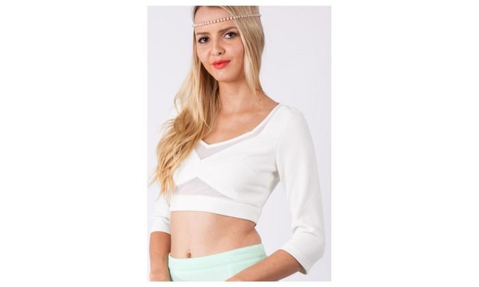 Women's White Mesh Insert Cut Out Top