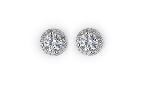 Sterling Silver & Crystal Halo Stud Earrings