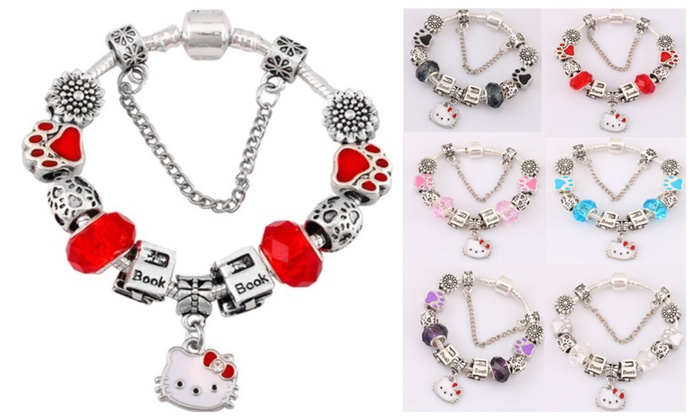 a4c93ea306b61 Pandora Inspired 925 Silver Lovely Hello Kitty Charm Bracelet | Groupon