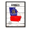 "Georgia State Map Accent Shabby Chic Flag 7""x9"" Framed Canvas Print"