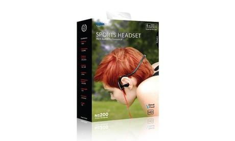 NoiseHush NS200 3.5mm Sports Neckband Stereo Headphones, Black & Red