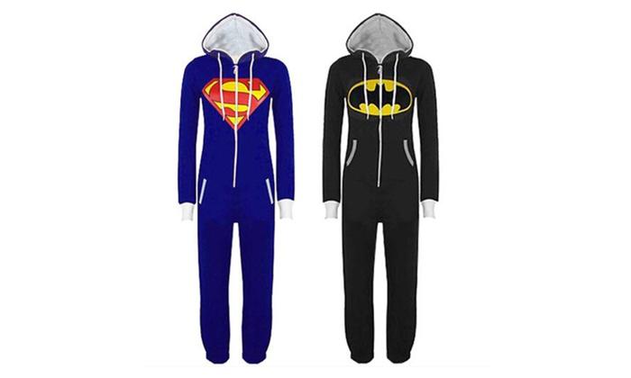 Mens And Womens Sleepwear Superman & Batman Hooded Zip Front Jumpsuit