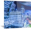Bangkok City Night View Cityscape Photo Metal Wall Art 28x12