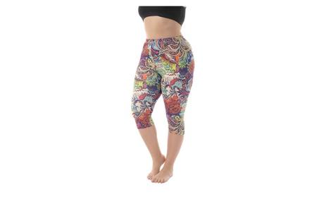 Women's Plus Size Breathable Printed Capri Leggings Lightweight f14d3127-22f9-4aa7-9175-64dbad1f5eae