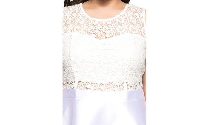 7b7301c1c4f ... Xehar Women s Plus Size Sleeveless Lace Top Evening Party Short Dress