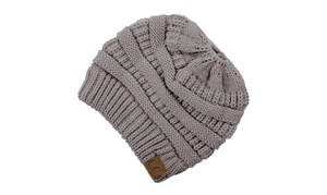 CC Knitted Beanie Pony Tail Hat