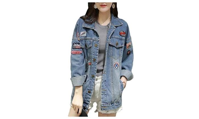 Women's Fashion Printed Loose Denim Jacket Coats