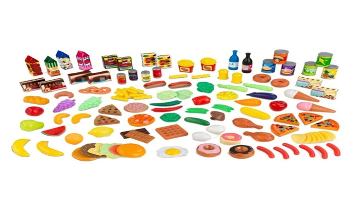 Play Kitchen Food kidkraft uptown espresso wooden play kitchen with 30-pc play food