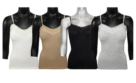 Women's Laced Velvet Trim Camisole Tank Top (4 PACK) 479b6e36-4156-46e9-9467-8aa5f213b4e6