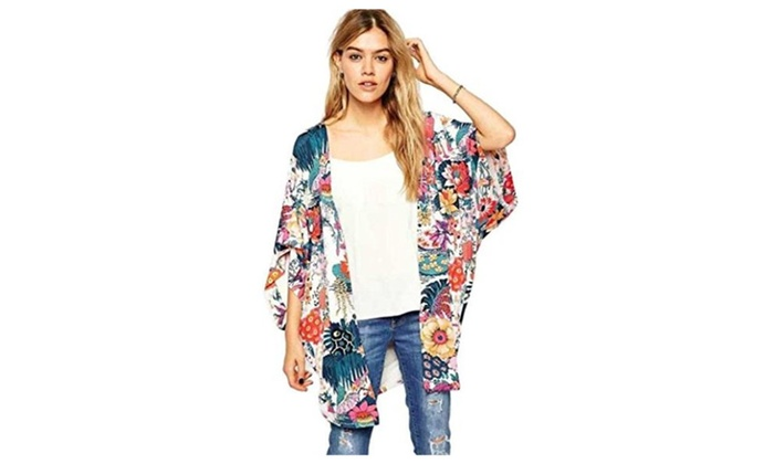 Women's Floral Print Chiffon Shawl Cardigan Cover-up Blouse