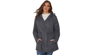 5f424bcd99823 Women's Grey/Black/Blue/Purple Plus Size Pocket Parka Jacket