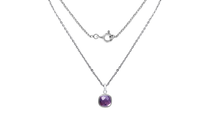 925 Sterling Silver Rhodium Amethyst Birthstone Vibrant Pendant