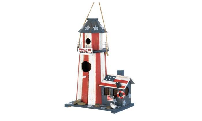Songbird Valley Home Decor Patriotic Lighthouse Birdhouse