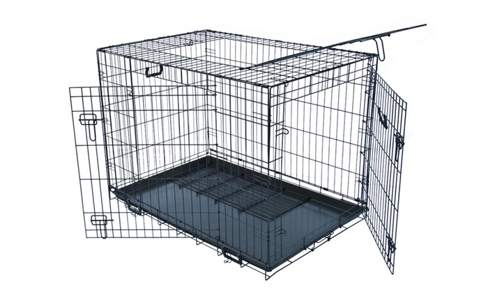 Apontus Folding Metal Dog Crate 3 Doors With Dividers 48 42 36