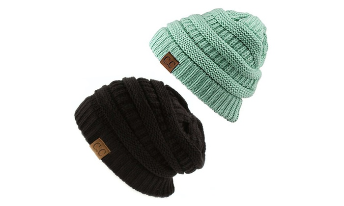 Chunky Cable Knit Beanie, Gift Set- Black & Mint