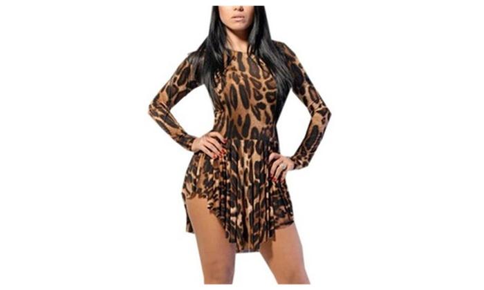 Women's Leopard Print Long Sleeve Bandage Cocktail Short Mini Dress
