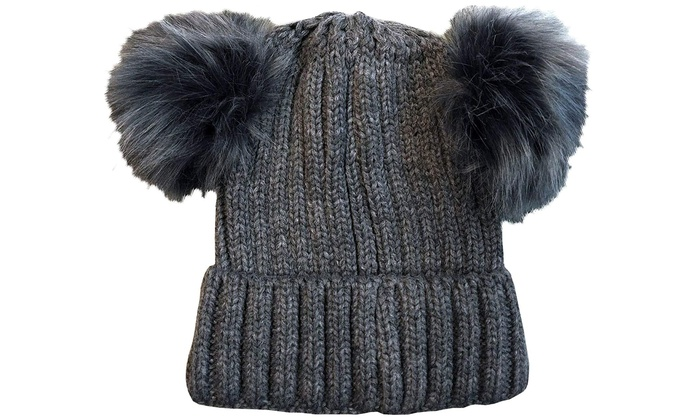 8c9fedc7d 4 Pack Womens Double Pom Pom Beanie Hat Winter Cable Knit Hat Warm Cap  Charcoal
