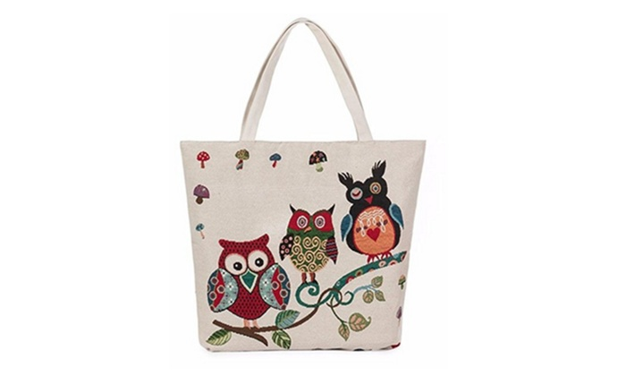 Women Owl Printed Canvas Tote Handbags Casual Shoulder Bag