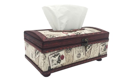 Retro Tissue Box Wood Cover, Rectangle Tissue Box Holder/Dispenser 1f8148c7-420b-40ab-ab40-8f8690d8949d