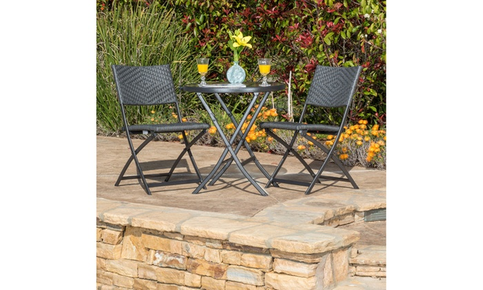 Cantinela Outdoor Folding Table with 2 Chairs Set (3-Piece) | Groupon