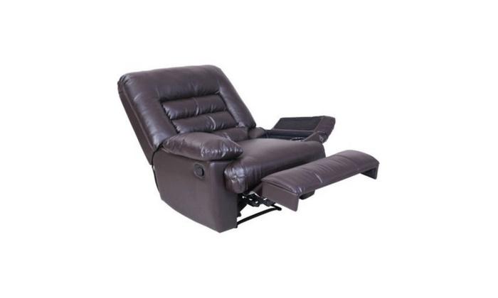 Serta Big Amp Tall Memory Foam Massage Recliner Leather Gray