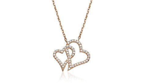 Cubic Sterling Silver Rose Plated Double Heart Micro Pave Pendant 67cee152-4fd2-40cd-9aa3-5fe0d52b0f98