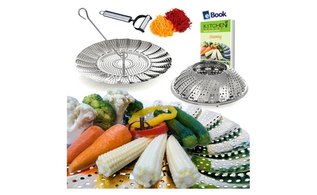 Vegetable Steamer Basket and Julienne Peeler For Veggie -2in1 d065abe5-c5e3-4436-b524-7aef94ea5a29
