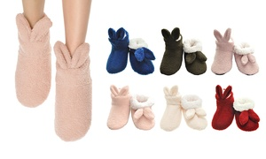 Women's Sherpa-Lined Rabbit Slippers with Soft-Bottom Non-Slip Sole