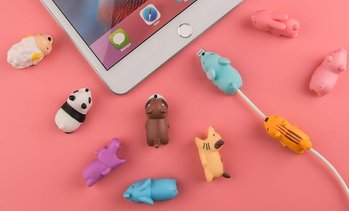 iPhone and Android Cute Soft Animal Biters Cable Protectors (4-Pack)