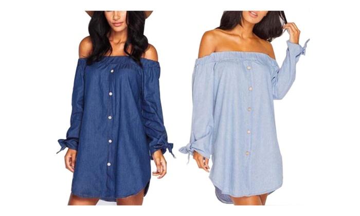 Women Off Shoulder Tops Knitted Denim Dress Blouse