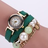 Womens Crown and Pearl PU Leather Wrist Wrap Watch