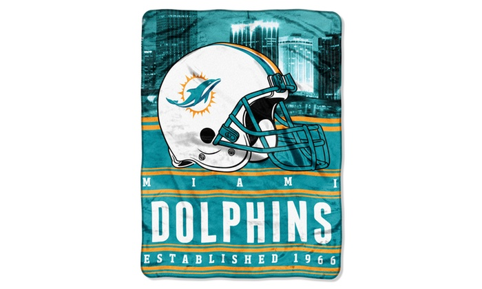 NFL 071 Dolphins Stacked Silk Touch Raschel Throw