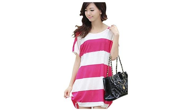Women Cute Pattern Plus Size Summer Dress Causal Blouse - hot pink D / One Size