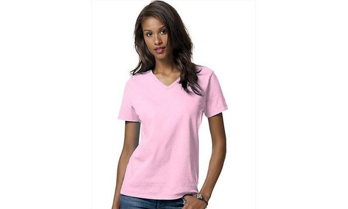 e571edd22e9c9 Hanes 5780 Relaxed Fit Women Comfortsoft V-Neck T-Shirt Medium Pale Pink