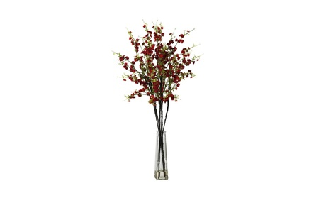 Nearly Natural Cherry Blossoms Vase Silk Flower Arrangement Red 9325152f-c65a-4308-b8b1-9168f8c62dbf