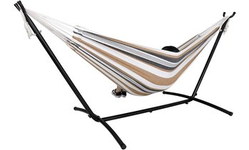 ZENY Double Hammock with Space Saving Steel Hammock Stand 9ft Carrying Bag