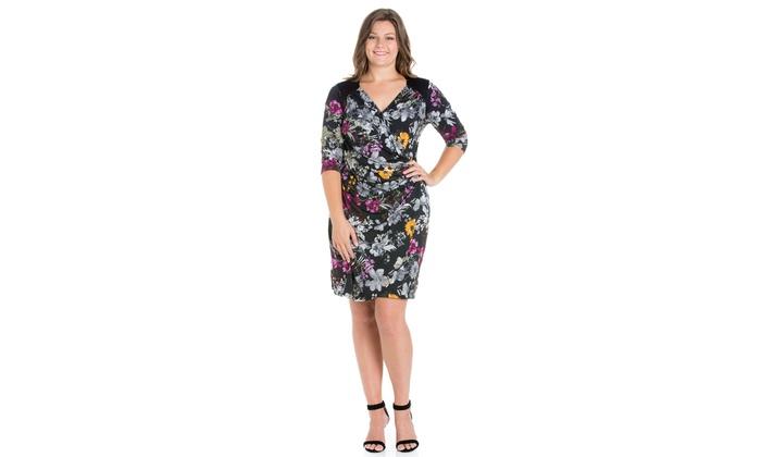 d3b3869186 24seven Comfort Apparel Blossoming Belle Floral Long Sleeve Plus Size Wrap  Dress