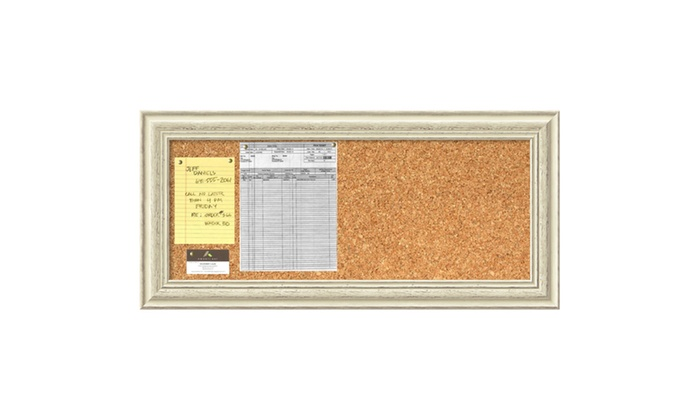 Framed Cork Board Panel, Country White Wash Wood: Outer Size 34 x 16 ...