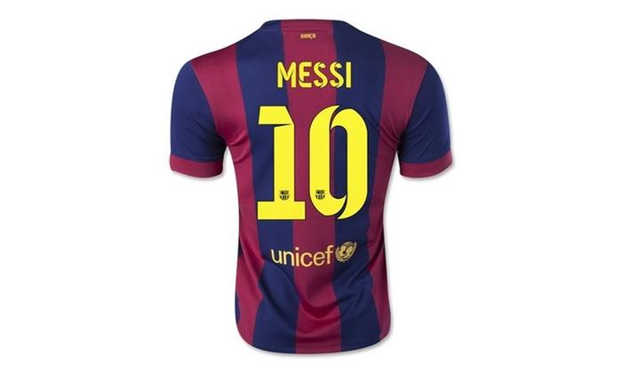 best cheap 8f544 cdf73 F.C.Barcelona Lionel Messi #10 Home Mens Soccer Jersey Football Shirt