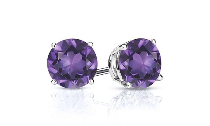 February Genuine Purple Amethyst Gemstone Sterling Silver Stud Earrings Round