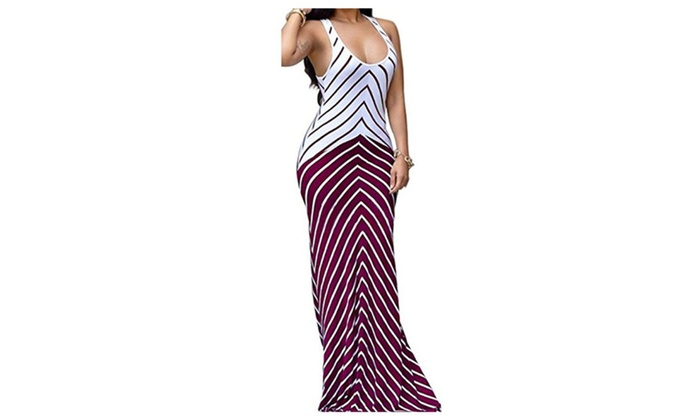 Women Sleeveless Sexy Maxi Stretch Bodycon Party Bandage Club Dresses